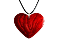 Resin Heart Pendant - Hand Carved Blood Red Marble Finish Necklace - Romantic Gift
