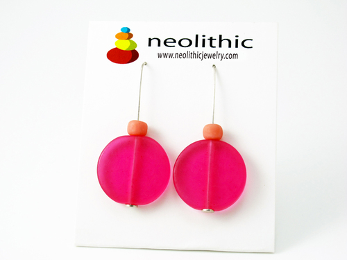 Pink Disc Resin Earrings - Bright Fun & Funky Flat but Happy Beaded Earrings