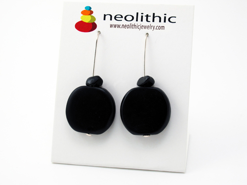 Black Resin Earrings - Unique Handcrafted Flat Circle Beads & Black Onyx Earrings