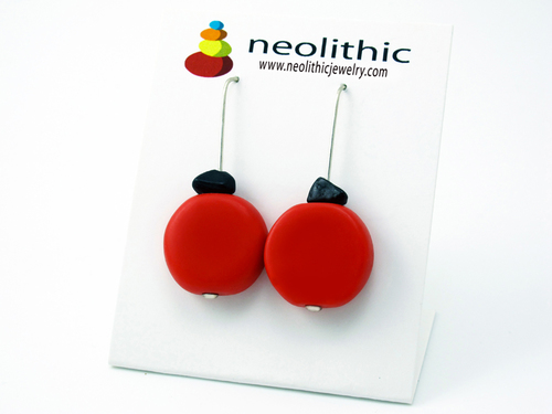 Red Resin Earrings - Bold & Bright Colorful Flat Circular Beads & Black Onyx Dangle Earrings