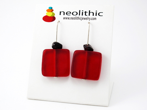 Red Square Earrings - Geometric Matt Resin Flat But Happy Pair with Garnet Gemstones