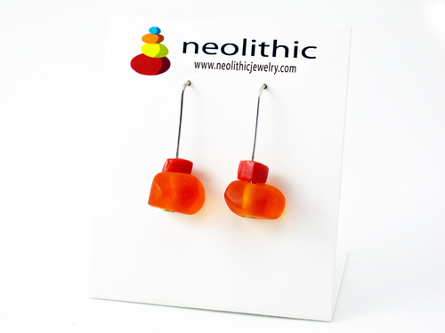Sunset Orange Earring Handmade Resin - Unique Contemporary Jewelry