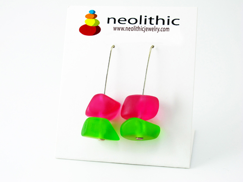 Neon Resin Earrings - Bright Pink & Green Freeform Pebble Shape Dangle Youthful Earrings