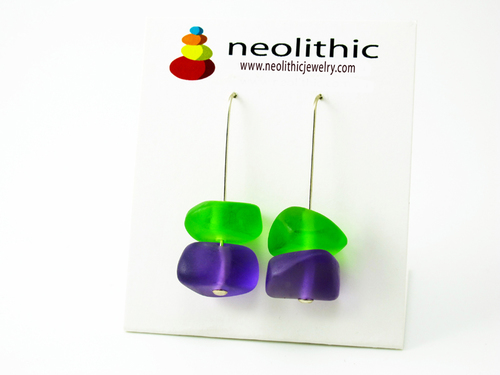 Lime & Purple Earrings - Bold Bright Resin Pebble Shape Earrings - Great Gift for Her