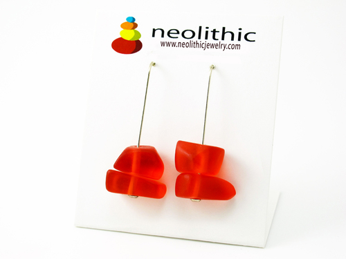 Orange Resin Pebble Earrings - Modern Drop Dangle Organic Shape Bright Color Handmade Jewelry