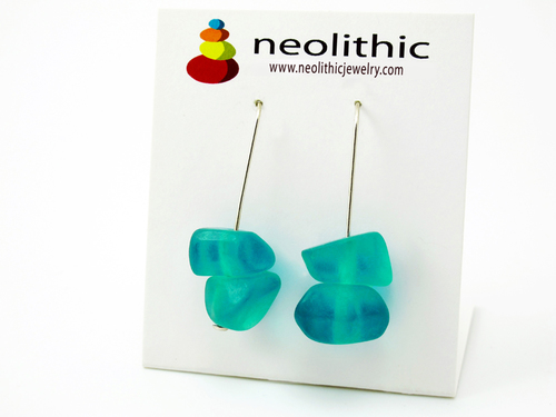 Turquoise Resin Earrings - Dangle Pebble Shape Bold Bright Artisan Earrings
