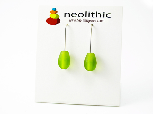Lime Drop Earrings - Resin Dangle Elegant Modern Bright Color Handcrafted Accessory
