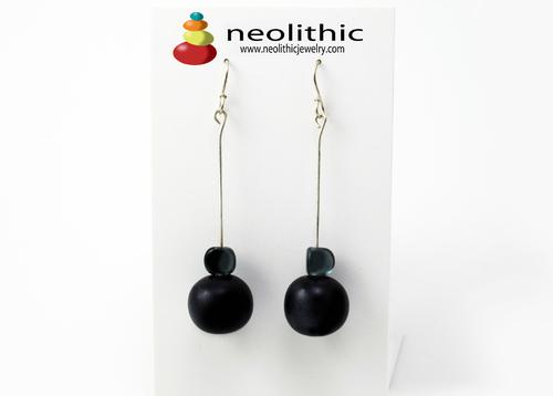 Black Long Dangle Earrings - Resin & Glass Beads on Sterling Silver Wire Minimalist Design