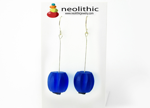 Cobalt Blue Earrings - Resin Long Dangle Chunky Beads & Lapis Lazuli Chips Women Fashion Accessory