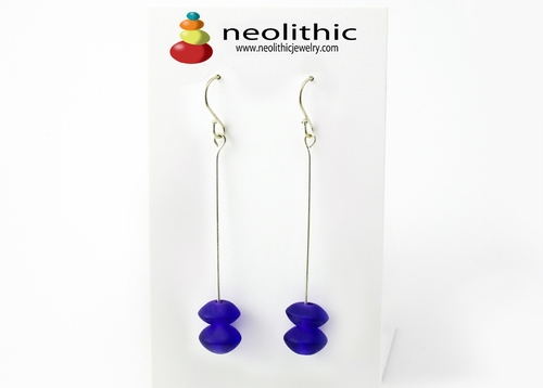 Purple Swing Earrings - Dangle Drop Double Irregular Shape Bead Designer Earrings