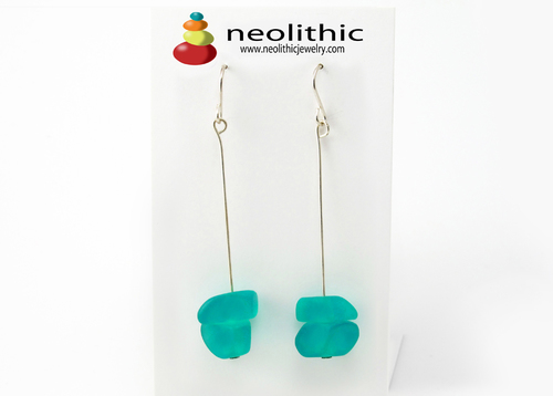 Turquoise Resin Earrings - Swinging Chandelier Pebble Shape Asymmetrical Bead Earrings