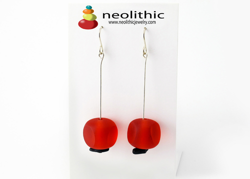 Red Resin & Onyx Earrings - Rounded Squares Funky Chunky Bold Earrings