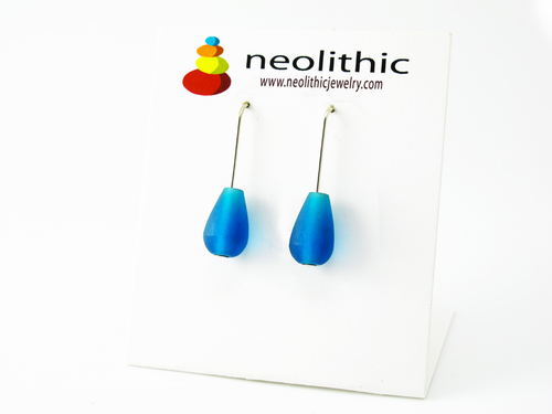 Azure Blue Earrings - Drop Dangle Simple Design Artisan Earrings - Gift for Her