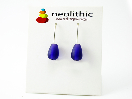 Purple Teardrop Earrings - Designer Resin Handmade Wearable Art Earrings