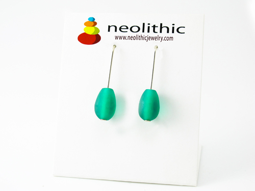 Retro Green Resin Earrings - Designer Minimal Modern Drop Handcrafted Jewelry