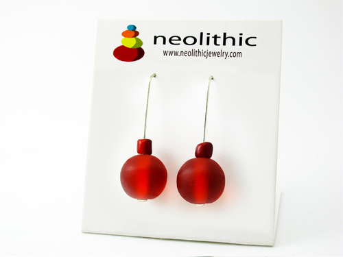 Red Simple Expression Earrings - Bold Resin Drop Simple Design Modern Accessory