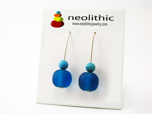 Azure Blue Earrings - Beaded Resin and Howlite Gemstone Minimalist Pair of Earrings
