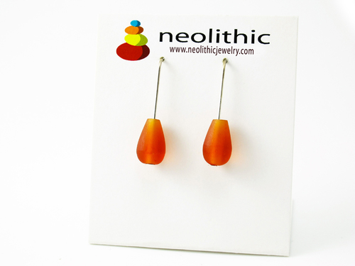 Teardrop Orange Earrings - Translucent Resin Dangle Minimalist Earrings