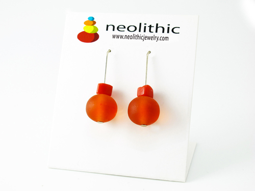 Orange Resin Earrings - Round Drop Resin and Glass Beads Designer Jewelry