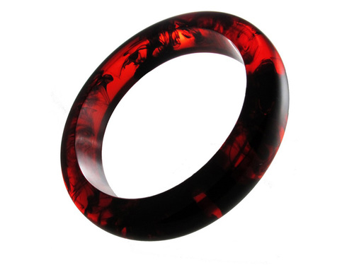 Resin Bangle - Unique Handmade Bracelet in Red Black Marble Effect