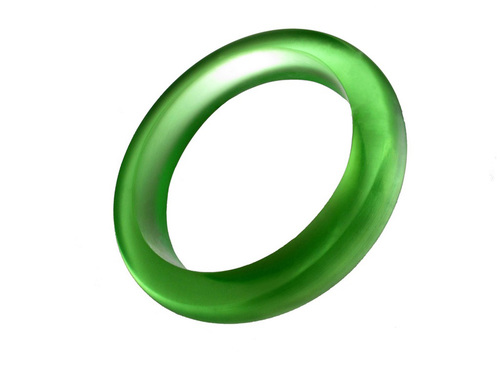 Lime Resin Bangle - Bold Opaque Green Bracelet