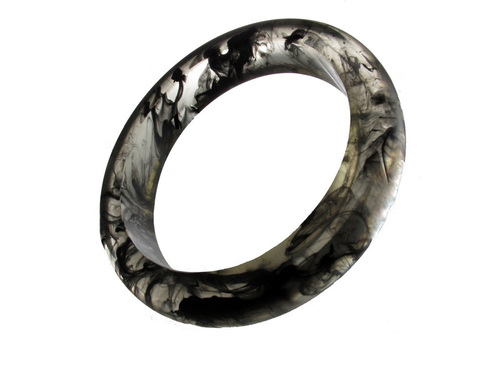 Marble Resin Bracelet - Black Modern Translucent Bangle